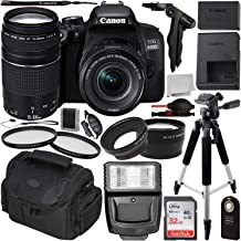 Canon EOS 800D DSLR Camera with 18-55mm is STM & 75-300mm III Lens & Essential Accessory Bundle – Includes: SanDisk Ultra 32GB SDHC Memory Card + Wide Angle & Telephoto Lens Attachment + More