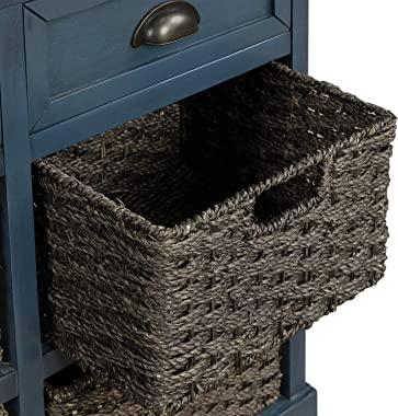 Harper & Bright Designs Rustic Storage Cabinet with Two Drawers and Four Classic Fabric Basket for Kitchen/Dining Room/En