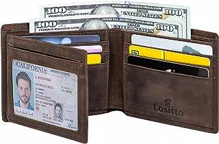 Men's Bifold Wallet - RFID Blocking Cowhide Leather Vintage Travel Wallet