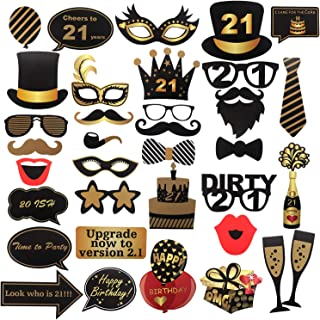 36 Pcs 21st Birthday Photo Booth Props Sign Kit - Finally 21 Girl Dress-up Party Selfie Props - Custom Bubbles Talk Decoration