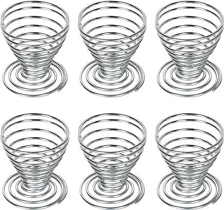 Preisvergleich für Trixes 6 x Eierbecher aus rostfreiem Edelstahl Stahl-Draht Spiralfeder