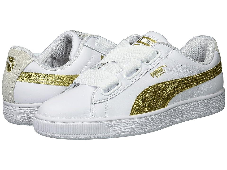 PUMA Basket Heart Glitter (Puma White/Gold) Women