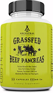 Ancestral Supplements Grass Fed Pancreas — Digestive, Proteolytic Enzymes (Including Trypsin) and Pancreatic Support (180 Capsules)