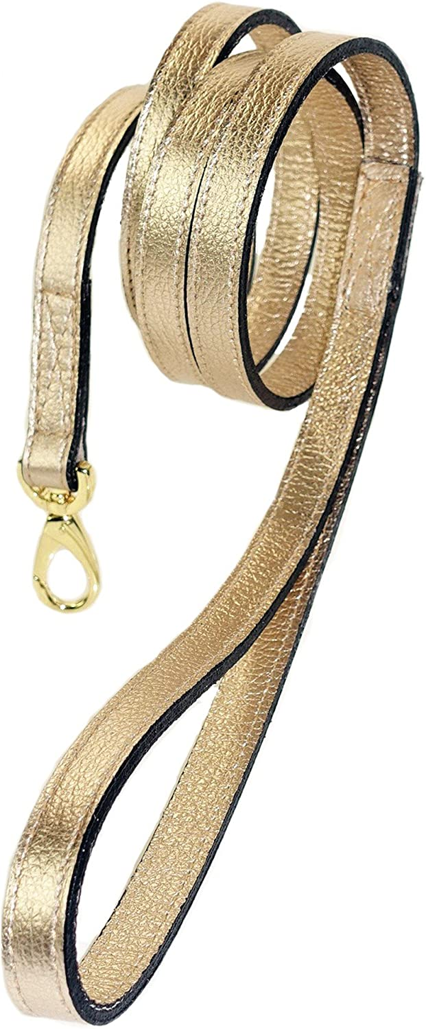 Hartman & pink 11969 Haute Couture Dog Lead, 1 2Inch, Deco gold Metallic