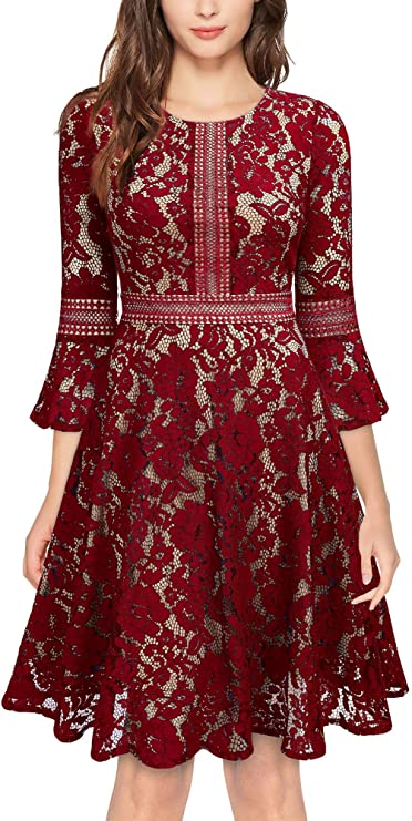 Vintage Full Lace Dresses, Contrast Flare 3/4 Sleeve | Pretty Lace Dresses for Women