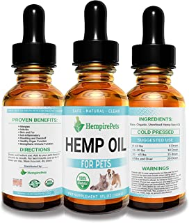 Hemp Oil for Dogs and Cats – 100% Organic Natural Calming Drops - Anxiety Support - Hip and Joint Health - Pain Relief Stress Reducer for Pets, 1 Bottle