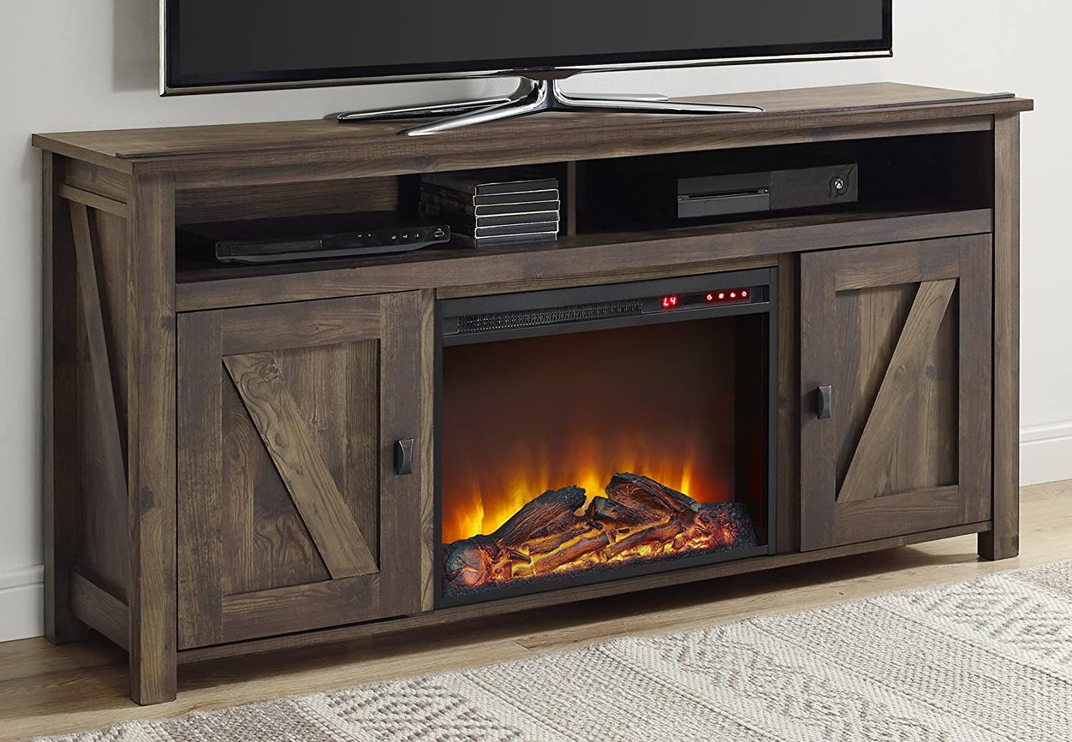 Ameriwood Home Farmington Electric Fireplace TV Console for TVs up to 20