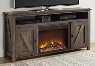 entertainment system with fireplace