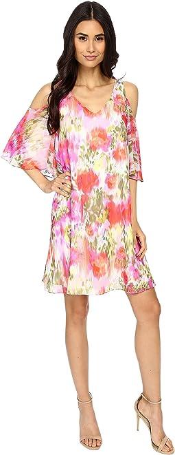 Brushed Flower Chiffon w/ Cold Shoulder Dress