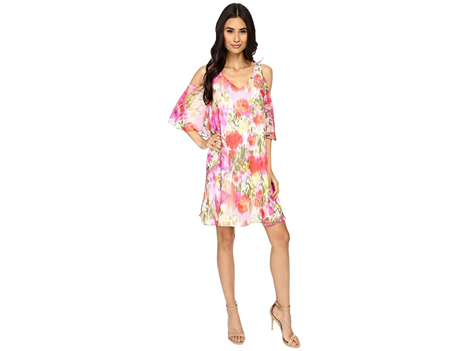 Maggy London Brushed Flower Chiffon w/ Cold Shoulder Dress (Pink) Women
