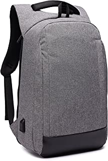 Antirrobo Mochila para Portátil, Impermeable Bolsa Mochilas para Ordenador 15.6 Pulgadas con Puerto de Carga USB Casual Mochila de Trabajo Viajera Escolares Universitaria pare Hombre Mujer, Gris