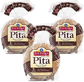 Toufayan Bakery, Whole Wheat Pita Bread for Sandwiches, Meats, Salads, Cheeses and Snacks, Cholesterol Free...