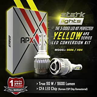 Stark APX 90W 9600LM LED Light 3000K Yellow High Power Kit - Low Beam/Fog Light Bulbs - 9006 / HB4
