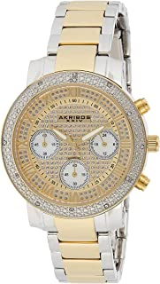 Akribos XXIV Women's Swiss Quartz Chronograph Diamond Crystal Bling Stainless Steel Bracelet Watch