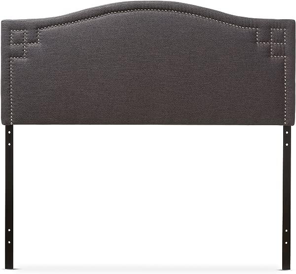 Baxton Studio Gallia Modern Contemporary Fabric Upholstered Headboard Queen Dark Grey