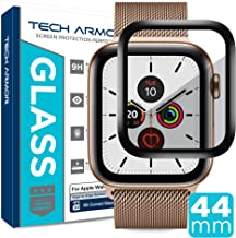 Tech Armor 3D Curved Edge Glass Screen Protector Designed for Apple Watch Series 4 / Series 5 44mm (Black) [1-Pack]