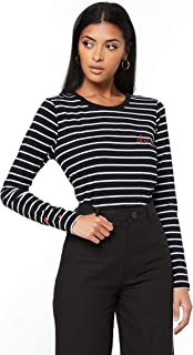 French Connection Women's Cherie Longsleeve TEE, Black/Off White/red