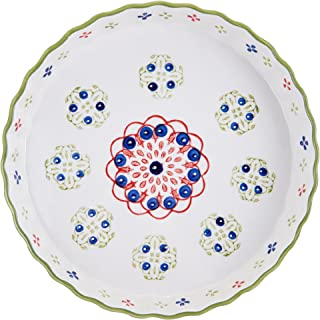 Pfaltzgraff Pink/Green Ceramic Round Pie Plate, 11-Inch - 5169262