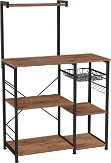 VASAGLE ALINRU Baker's Rack with Shelves, Kitchen Shelf with Wire Basket, 6 S-Hooks, Microwave Oven Stand, Utility Storage...