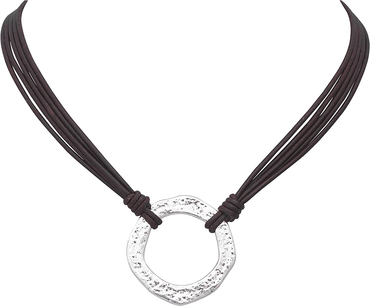 Yunhan Pearls Alloy Clasp Necklace Choker Pendant with Genuine Leather Cord for Women 16.5''