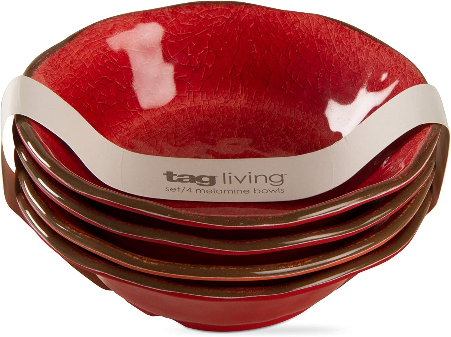 tag Veranda Red Melamine Bowl Year-end gift Set of Sale Special Price 4