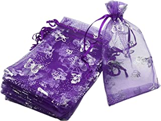 100pcs 4x6 Inches Drawstrings Organza Gift Candy Bags Wedding Favors Bags (Butterfly with Purple)