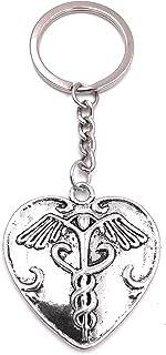 H Customs Gesundheit Arzt Herz Schlüsselanhänger Anhänger Silber aus Metall