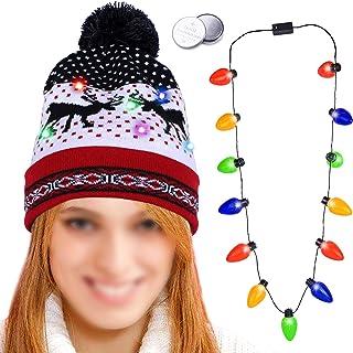 HOWAF LED Lumineux Bonnets en Maille, Noël Chapeau en Tricoté Chaud pour Femmes Dames Filles et LED Lumineux Collier pour ...