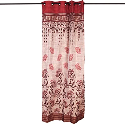 """Story@Home Eyelet Fancy Jacquard Floral 4 Piece Window Ringtop Curtain Set- 46 """" X 60 """", 5 feet, Maroon"""