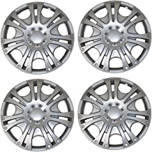 Tuningpros WC3-14-2009-S - Pack of 4 Hubcaps - 14-Inches Style 2009 Snap-On (Pop-On) Type Metallic Silver Wheel Covers Hub-caps