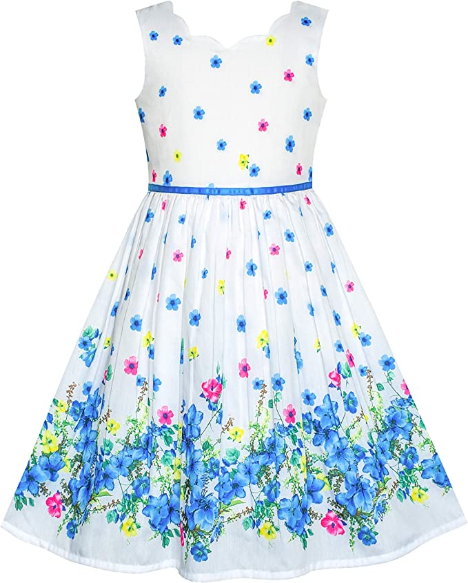 Sunny Fashion Sunny Fashion Madchen Kleid Armellos Tupfen Rose Garten Gruner Druck Kleider Amazon De Bekleidung