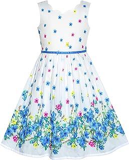 Vestido para niña Morado Girasol Verde Hojas Mariposa 4-12 años