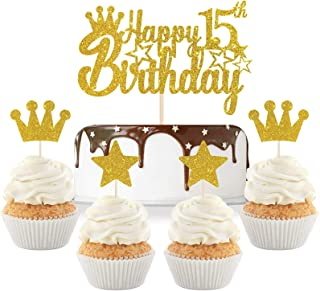 Gold Glitter Happy 15th Birthday Cake Topper with Crown Star Cupcake Toppers/Cheers to 15 Years/Teenagers 15th Birthday Pa...