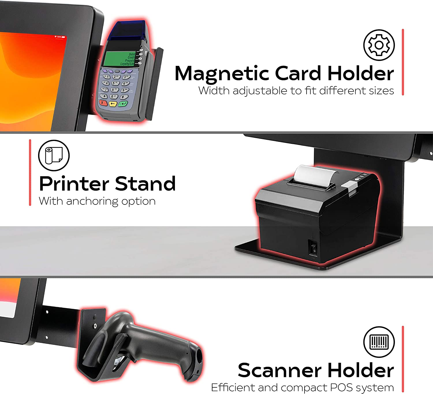 Dual POS Station – CTA VESA Dual Plate POS Station with Printer Stand, Magnetic Scanner Holder, Card Reader Holder (PAD-CHKS2)