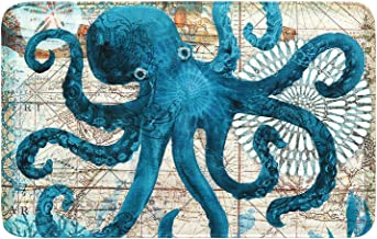 Uphome Octopus Foam Bath Mat Sea Theme Coastal Navigation Map Blue Bathroom Rugs Non-Slip Flannel Floor Bath Rug,Summer Oc...