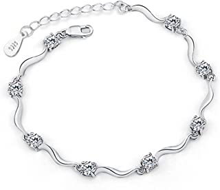 d0a84550b Private Twinkle 925 Sterling Silver Bracelet Made with Shiny White Zirconia  for Women Girls