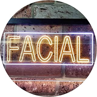 Facial Beauty Shop Illuminated Dual Color LED Neon Sign White & Yellow 300 x 210mm st6s32-i0454-wy