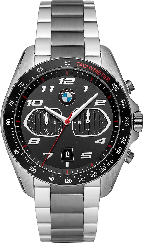 BMW Reloj de cuarzo de acero inoxidable de tres manos para hombre