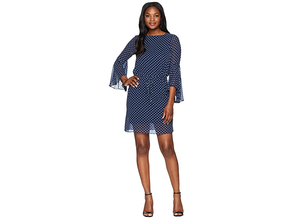 LAUREN Ralph Lauren Kofkin Day Dress (Navy/White) Women