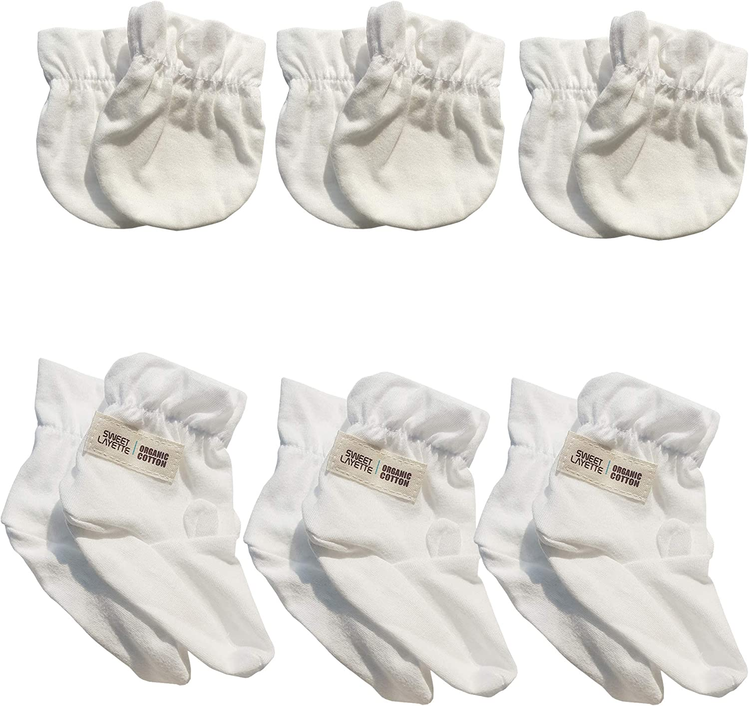 Sweet Layette Baby Mittens and Booties Set - No Scratches - Organic Cotton (6, White)