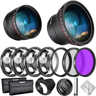 Neewer 58mm Lens and Filter Accessory Kit for Canon Rebel EF-S 18-55mm Lens: 0.43X Wide Angle Lens, 2.2X Telephoto Lenses,...