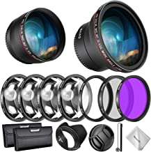 Neewer 58mm Lens and Filter Accessory Kit for Canon Rebel EF-S 18-55mm Lens: 0.43X Wide Angle Lens, 2.2X Telephoto Lenses, UV/CPL/FLD/Filter and Macro Filter Set, Lens Hood, Cap, Bag, etc