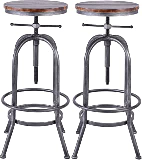 LOKKHAN Industrial Bar Stool,Vintage Adjustable Swivel Metal Wood Stool,Rustic Farmhouse Stool,Cast Iron Stool,Counter Height to Extra Tall Pub Height Kitchen Coffee Stool,28-34 Inch (Silver(2pcs))