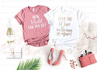 Bachelorette Party Shirts, Wine His Last Name is Mine, How Merlot Can You Go Shirts and Other Funny Sayings For Bridesmaids and Bride in Gold Foil, Rose Gold and Silver Foil Graphics