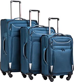 Luggage 3 Piece Set Suitcase Spinner Softshell lightweight (blue+sliver)