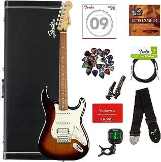 Fender Player Stratocaster HSS, Pau Ferro - 3-Color Sunburst Bundle with Hard Case, Cable, Tuner, Strap, Strings, Picks, Capo, Fender Play Online Lessons, and Austin Bazaar Instructional DVD