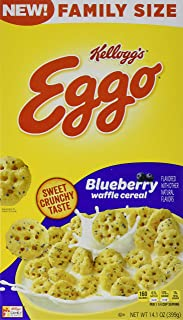 Kellogg's Eggo, Breakfast Cereal, Blueberry Waffle, Good Source of 8 Vitamins and Minerals, Family Size, 14.1oz Box