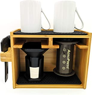 Hexnub Organizer for Aeropress Coffee Maker Premium Bamboo Stand Caddy Station Holds Aeropress Coffee Maker Filters Cups Accessories with Silicone Dripper Mat (Black)