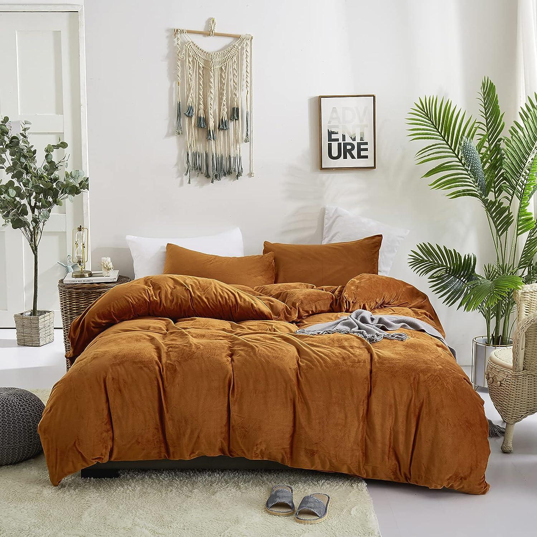 Wellboo Pumpkin Velvet Comforter Set Popular wholesale standard Burnt Bedding Orange Fluffy