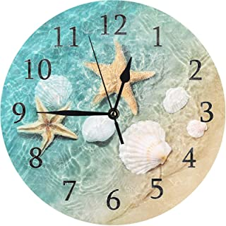 ATEDEANEI Silent Decorative Non-Ticking Wall Clock Starfish Shell Beach Wooden 10 Inch Wall Decor Battery Operated for Bed...